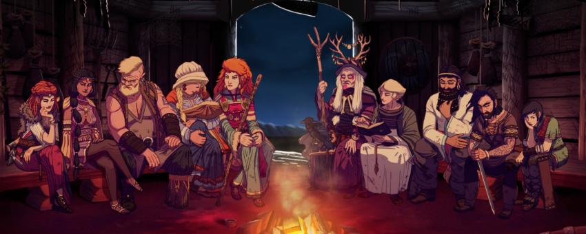 Dead in Vinland, réunion des personnages autour du feu la nuit